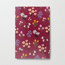 TINY LITTLE COLORFUL FLOWER PATTERN Metal Print