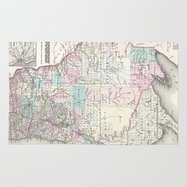 Vintage Map of Wisconsin (1855) Rug