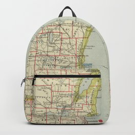 Vintage Map of Lake Michigan (1883) Backpack