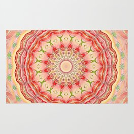 Mandala Tequila Sunrise -- Kaleidoscope of Vibrant Sunny Colors Rug