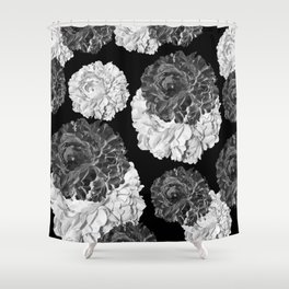 CABBAGE ROSES BLACK AND WHITE Shower Curtain