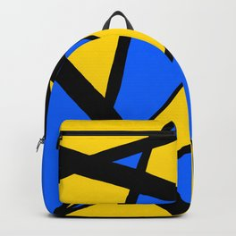 Yellow and Blue Triangles Abstract Backpack