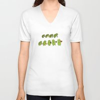 android V-neck T-shirts featuring Android Evolution by CromMorc