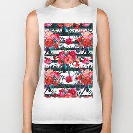 Magenta pink fuchsia black white watercolor floral stripes Biker Tank