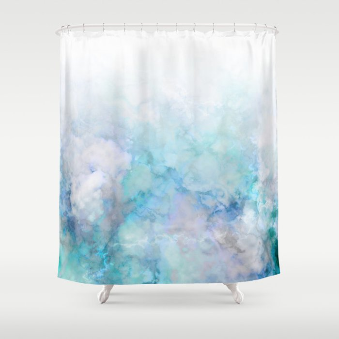 Fresh Blue And Aqua Ombre Frozen Marble Shower Curtain