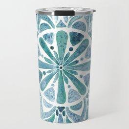 Watercolor Mandala III blue green Travel Mug