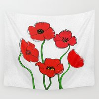 poppy Wall Tapestries featuring Poppy  by Armine Nersisian