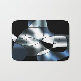 ABSTRACT CURVES #1 (Black, Grays & White) Bath Mat