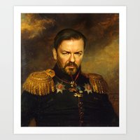 replaceface Art Prints featuring Ricky Gervais - replaceface by replaceface