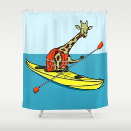 Giraffe Sea Kayaking Shower Curtain