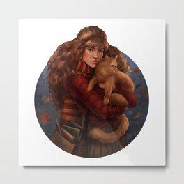 Girl and her cat Metal Print