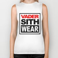 sith Biker Tanks featuring Vader Sith Wear (white) by Ant Atomic