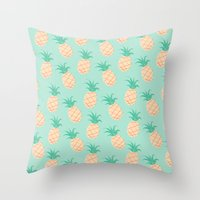pineapple Throw Pillows featuring Pineapple   by Sibylline