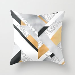 Abstract Geo (Black, White, Gold, Silver & Marble) Throw Pillow