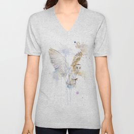 """Watercolor Painting of Picture """"White Owl"""" Unisex V-Neck"""