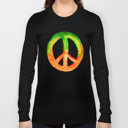 Green Orange Yellow Watercolor Tie Dye Peace Sign Long Sleeve T-shirt