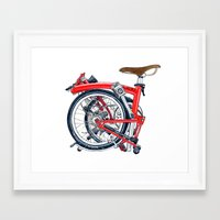 brompton Framed Art Prints featuring Brompton Folded red painting by Diana Powell