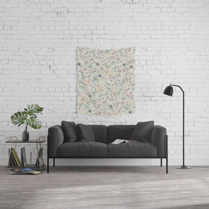 Country Flowers - Tan Wall Tapestry