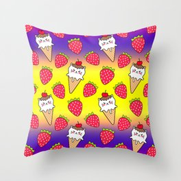 Cute funny sweet adorable little baby kitten ice cream cones with sprinkles and red ripe summer strawberries cartoon bright yellow purple pattern design Throw Pillow