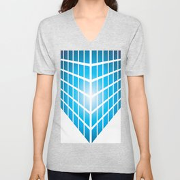 BLUE AND PURPLE SQUARES ON A WHITE BACKGROUND Abstract Art Unisex V-Neck