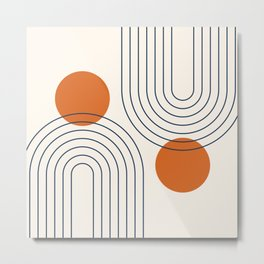 Mid Century Modern Geometric 88 in Navy Blue and Orange (Rainbow and Sun Abstraction) Metal Print