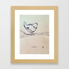 Curious Bird Ink Drawing Framed Art Print