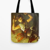 percy jackson Tote Bags featuring Maybe Next Time, Jackson! by Miruocha