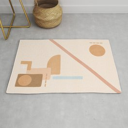 Divided abstract beige soft colors Rug