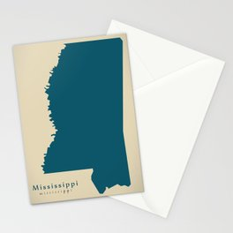 Modern Map - Mississippi state USA Stationery Cards