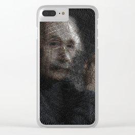 Albert Einstein, a String Art Portrait Clear iPhone Case