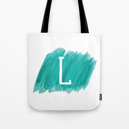 Letter L Teal Watercolor Tote Bag