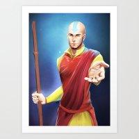 aang Art Prints featuring Avatar Aang by Meder Taab