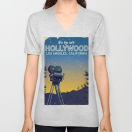 Hollywood, Los Angeles,California travel poster Unisex V-Neck