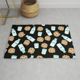Milk and cookies pattern cute kids decor boys or girls room design Rug