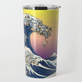 The Great Wave Of  Cat Travel Mug