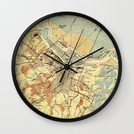 Vintage Map of Savannah Georgia (1942) Wall Clock