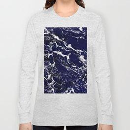 Modern Navy blue watercolor marble pattern Long Sleeve T-shirt