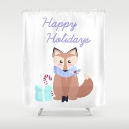 Cute Fox Happy Holidays Merry Christmas Gift Shower Curtain