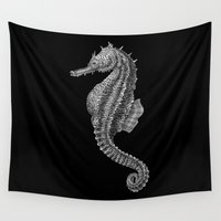 seahorse Wall Tapestries featuring Seahorse by Tim Jeffs Art