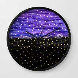 Gold Triangles on Violet and Black Wall Clock