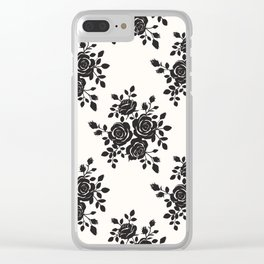 Black Roses Romantic Pattern Clear iPhone Case