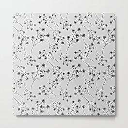 Baby's Breath Flower Pattern - Snow Metal Print