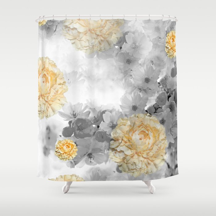 CHERRY BLOSSOMS AND YELLOW ROSES Shower Curtain