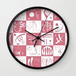 Kandinsky - White and Rose Pattern - Abstract Art Wall Clock