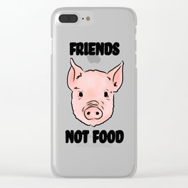 Cute Pig Vegan Friends Not Food Illustration Clear iPhone Case