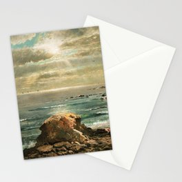 Sunlight through the Clouds over a Rocky Coast by Edmond Darch Lewis Stationery Cards