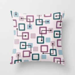 Vintage 1950s Tiles & Squares (Lavender) Throw Pillow