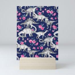 Dinosaurs and Roses on Dark Blue Purple Mini Art Print