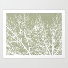 White Bird in White Tree - Moss A593 Art Print