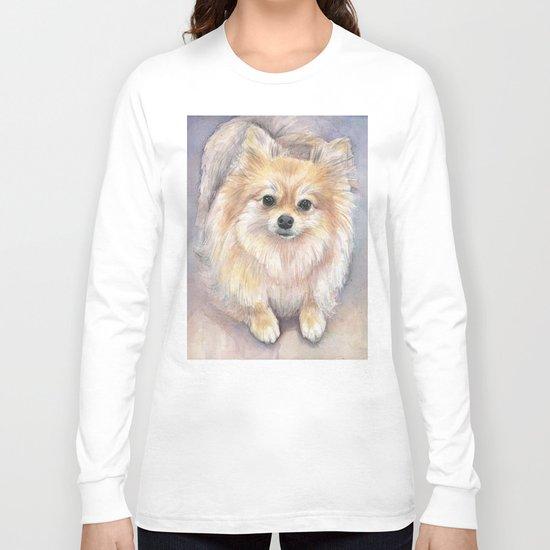 Pomeranian Watercolor Pom Puppy Dog Painting Long Sleeve T-shirt